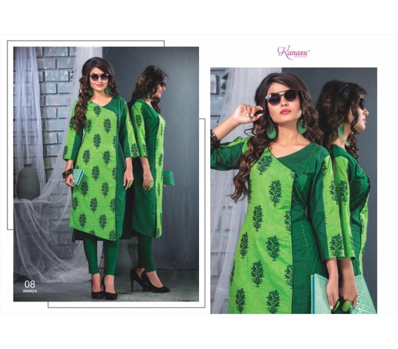 Women Solid Cotton Blend Straight Kurta Ananya