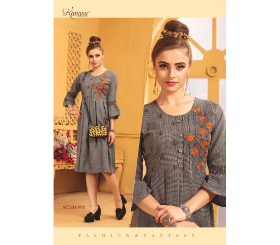 Women Printed Fancy Rayon Flared With Work Kurta Ayesha