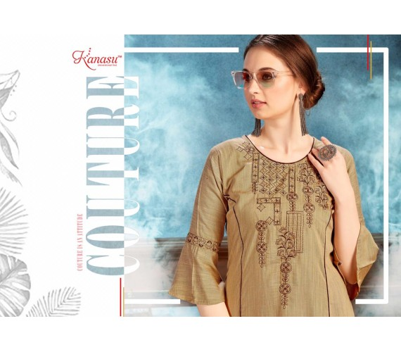 Woman Reyon Silk A Line  With Work Flared Kurta  Dazzel