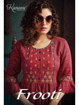 Women Fancy Reyon Flair With Work Kurti Frooti
