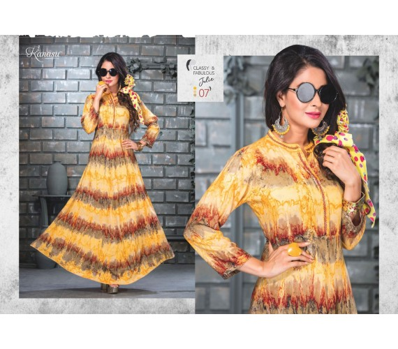 Woman Reyon Long And Hand Print Flared Kurta  Julie
