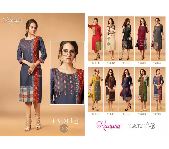 Women Mix Printed Fancy Rayon Straight Kurta Ladli Vol-2