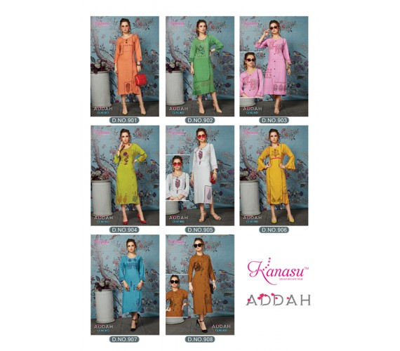 Women Embroidery& Hand Work Rayon Straight Kurta Addah