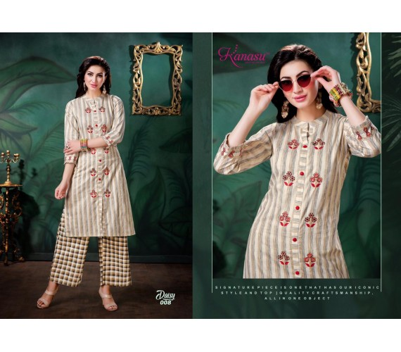 Women Soft Flex Stripes & Chex Kurta and Palazzo Set Rayon Daisy