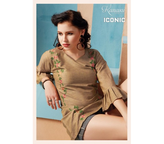 Women  Short Top With Embroidered Work Flared Rayon Kurta Iconic