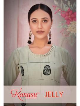 Women Embroidered Cotton Work Straight Kurta Jelly