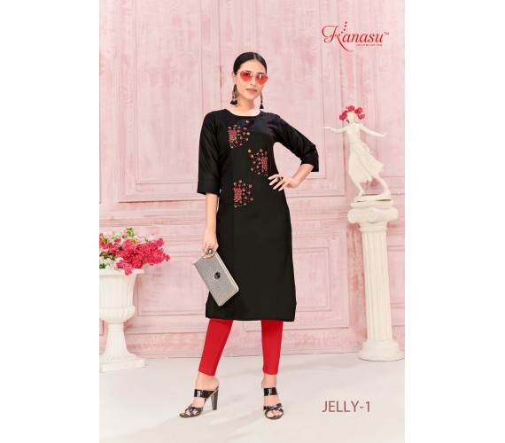 Women Embroidered Cotton Work Straight Kurta Jelly
