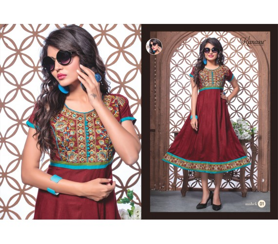 Women  Reyon 14Kg Embroidered With Work Anarkali Kurta Mahek