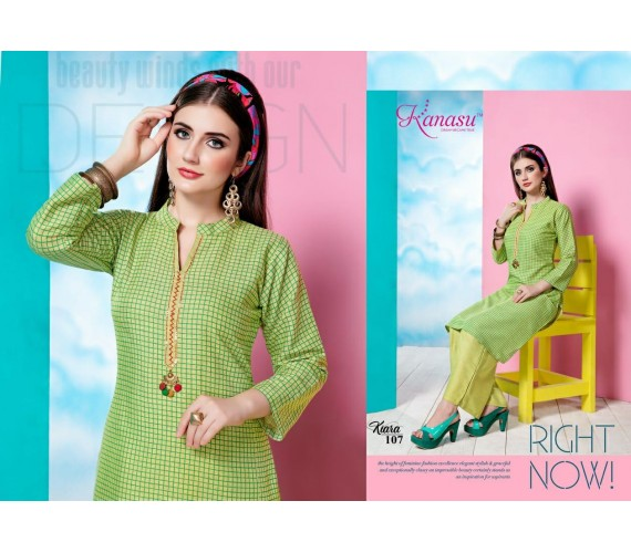 Women Kurta and Palazzo Set  Reyon Two Tone Chex Kiara
