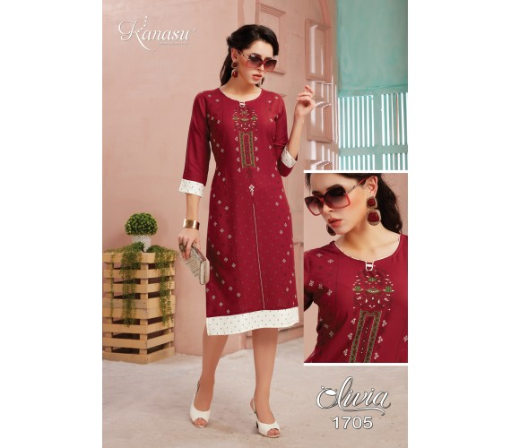 Women Screen Print Rayon Straight Kurta Olivia