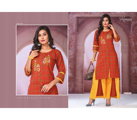 Woman Soft Camric Print & Straight With Work And Two Layered Plazzo Kurti Rivaa
