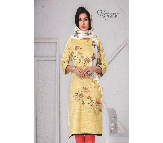 Woman Fancy  Rayon Straight With Work & Print Duppata Kurta Suhani