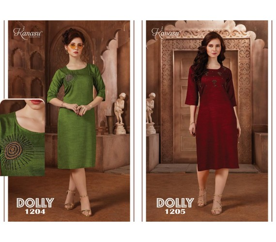 Women Straight With Hand Work  Reyon Silk Kurti Dolley