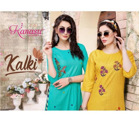 Women Kurta and Palazzo Set Rayon Chex & Work Pattern Kalki